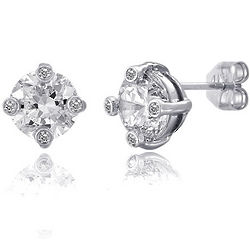 Sterling Silver Cubic Zirconia Solitaire Stud Earrings