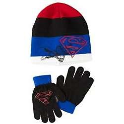 Superman Knit Hat and Gloves Set