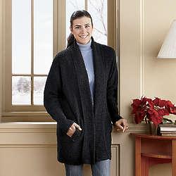 Plus Size Boucle Sweater Coat