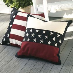 "18"" Square Weather-Resistant Americana Flag Pillow"