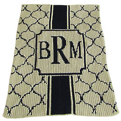 Sophisticated Monogrammed Stroller Blanket