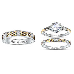 Personalized Trinity Knot His & Hers Diamonesk Wedding Rings