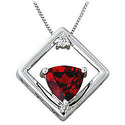Garnet and Diamond Pendant with White Gold Frame