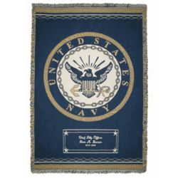 Personalized Navy Throw