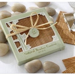 Personalized Natural Bamboo Eco-Friendly Coaster Favors