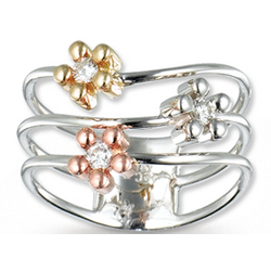 14k Tri Tone Diamond Triple BandFlower Ring