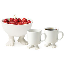 Footed Bowl with Two Footed Mugs