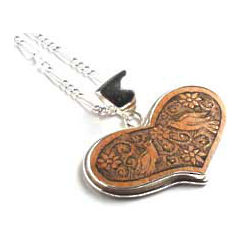 Sterling Silver and Mate Gourd Lovebirds Heart Necklace