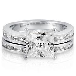 Princess Cubic Zirconia Sterling Silver Bridal Ring Set
