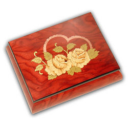 Red Wood Rose and Heart Music Box