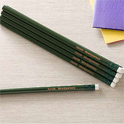 Personalized Green Pencil Set