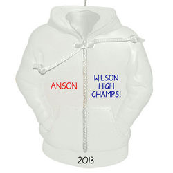 Personalized High School Hoodie Ornament