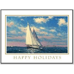 Schooner Adventurer Sailboat Christmas Card