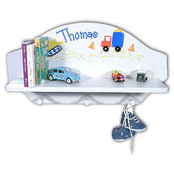 Handpainted Wooden Personalized Toy and Book Shelf