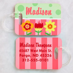 Personalized Girl's Floral Luggage Tag Set