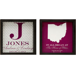 It All Began Personalized Couple Map and Monogram Framed Prints