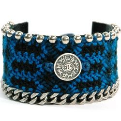 Against Evil Eye Wide Weaved Leather Bracelet