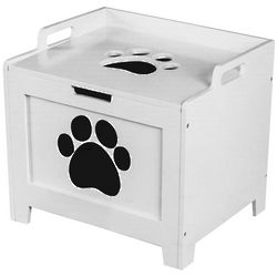 White Wooden Pet Toy Box