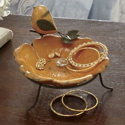 Flower and Perching Bird Decorative Dish