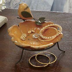 Flower and Perching Bird Decorative Dish