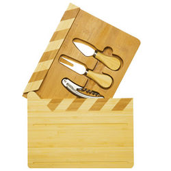Action Natural Wood Cheese Board and Tools