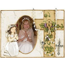 Praying Girl Communion Photo Frame with Pearl Rosary