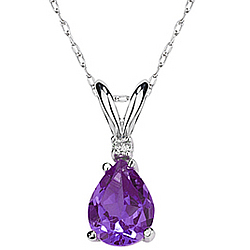 Pear Amethyst and Diamond Stud Pendant in 14K White Gold