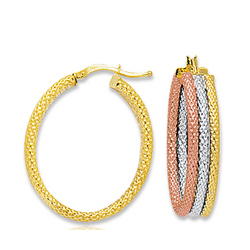 14k Tri Tone Gold Hinged Post Hoop Earrings