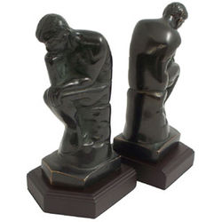 Bronzed Thinker Bookends
