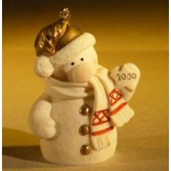 Miniature Ceramic Snowman Figurine Christmas Tree Decoration
