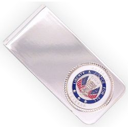 Engraved Retired Veteran Silver Plated Money Clip