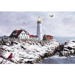 Maine Lighthouse and Airplane Christmas Card