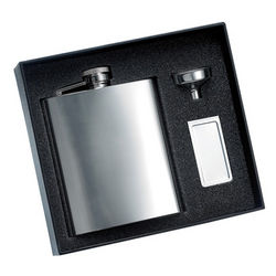 Mirror Finish Flask and Chrome Money Clip Set