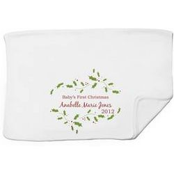 Baby's First Christmas Personalized White Receiving Blanket