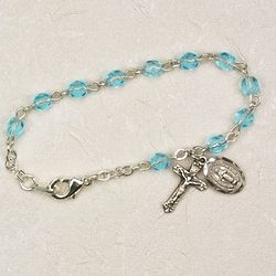 Baby's Sterling Silver and Aquamarine Rosary Bracelet