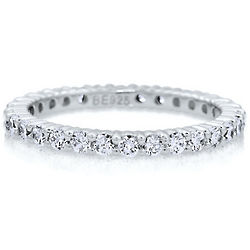 Clear Cubic Zirconia Sterling Silver Eternity Band Ring