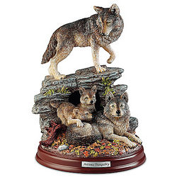 Autumn Tranquility Wolf Pack Sculpture