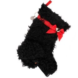 Curly Dog Christmas Stocking in Black