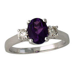 Amethyst and Diamond 3 Stone Ring