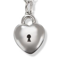 14k White Gold Heart Charm Pendant