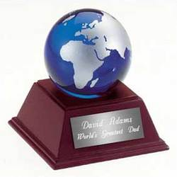 Personalized Glass Globe Paperweight with Wooden Base