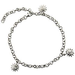 Happy Sun Anklet in Sterling Silver