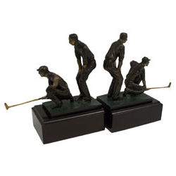 Bronzed Double Golfers Bookends