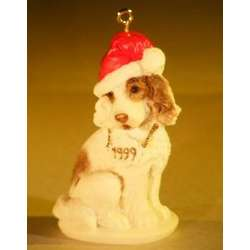Miniature Ceramic Dog Figurine Christmas Ornament