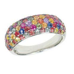 Balissima Multi Color Sapphire Silver Ring