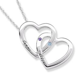 Couple's Birthstone and Name Double Heart Pendant