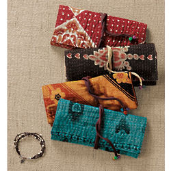 Kantha Stitched Jewelry Roll