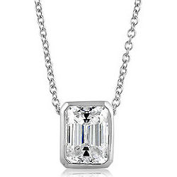 Sterling Silver Emerald Cubic Zirconia Solitaire Pendant Necklace