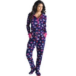 Hot Lips Hoodie-Footie Women's Pajamas