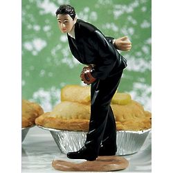 Groom Pitching Baseball Wedding Cake Topper